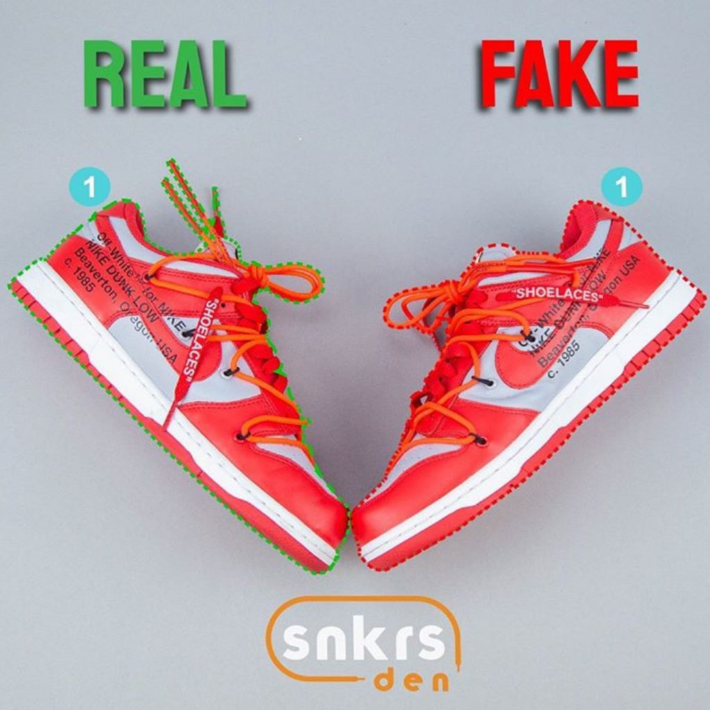 Real Vs Fake Off-White x Nike Dunk Low University Red