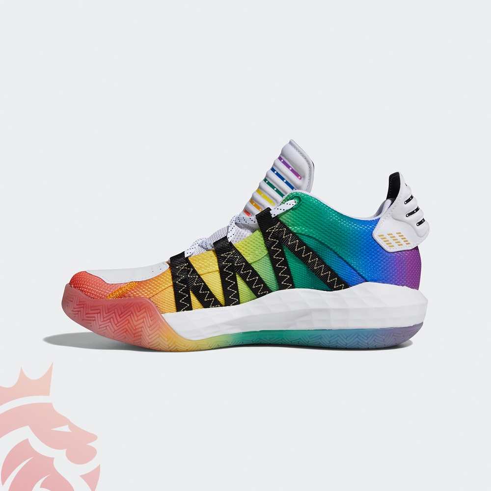 Medial look at the Pride inspired Dame 6 by adidas