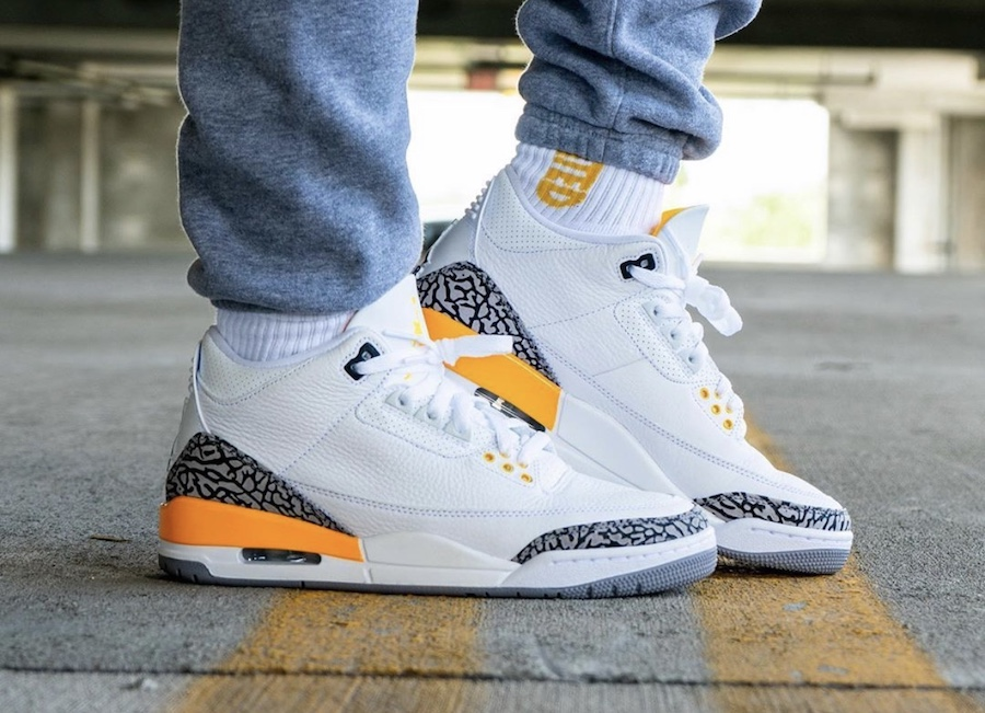 AJ 3 Orange White Cement Grey Colorway On Feet