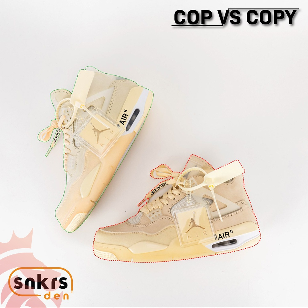 SnkrsDen Cop vs Copy AJ 4 Off-White