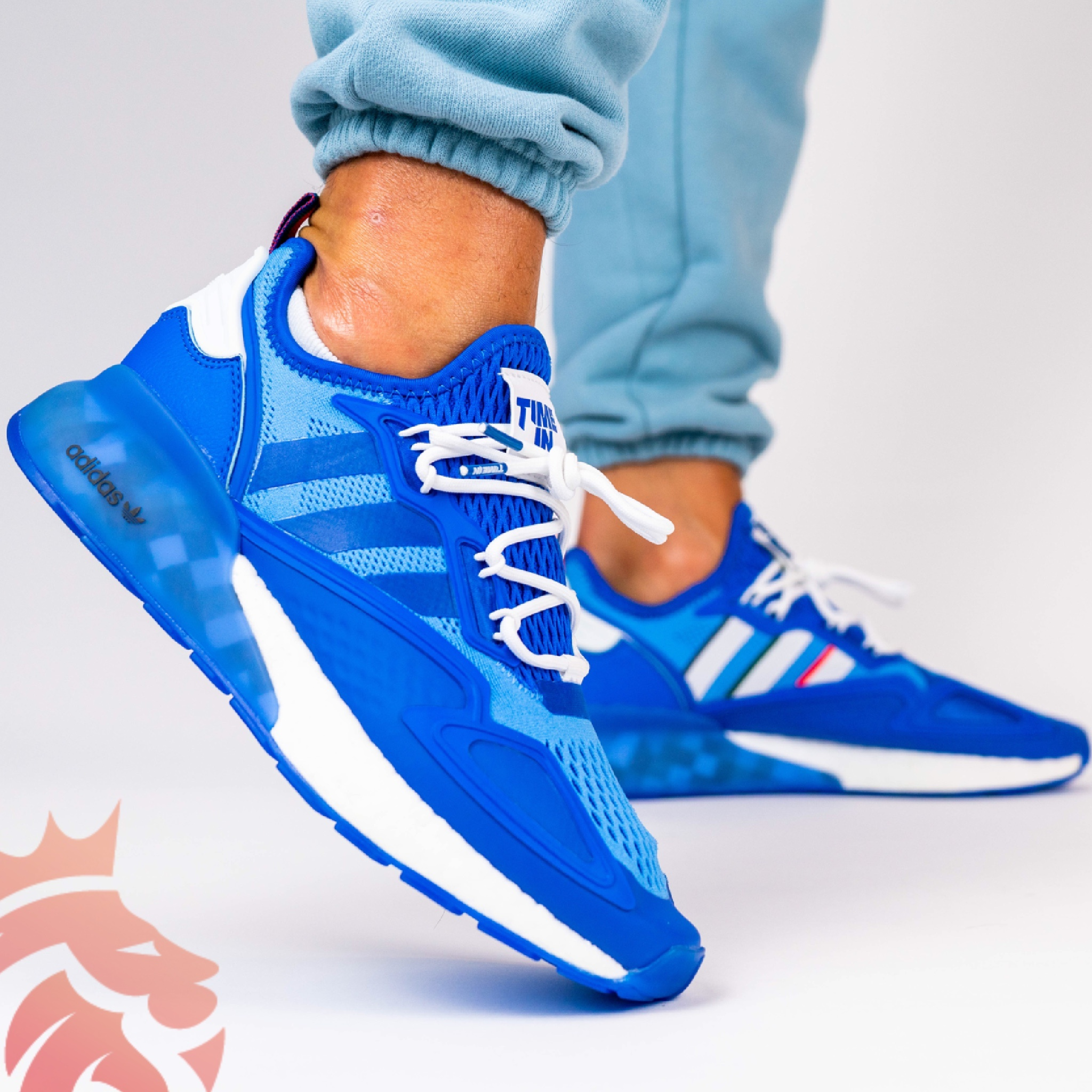 Yankeekicks On Feet Ninja Time x adidas ZX 2K Boost Blue FZ1883 Hyper Blue, Baby Blue, White, Navy