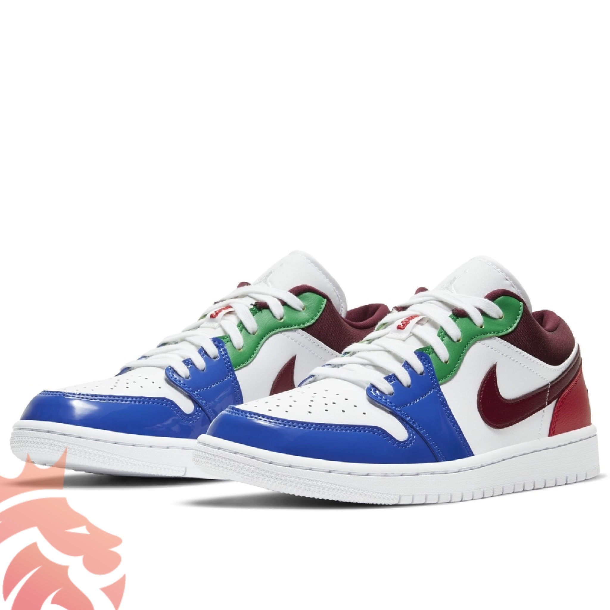 Air Jordan 1 Low Multi-Color White/Blue/Green/Burgundy/Red