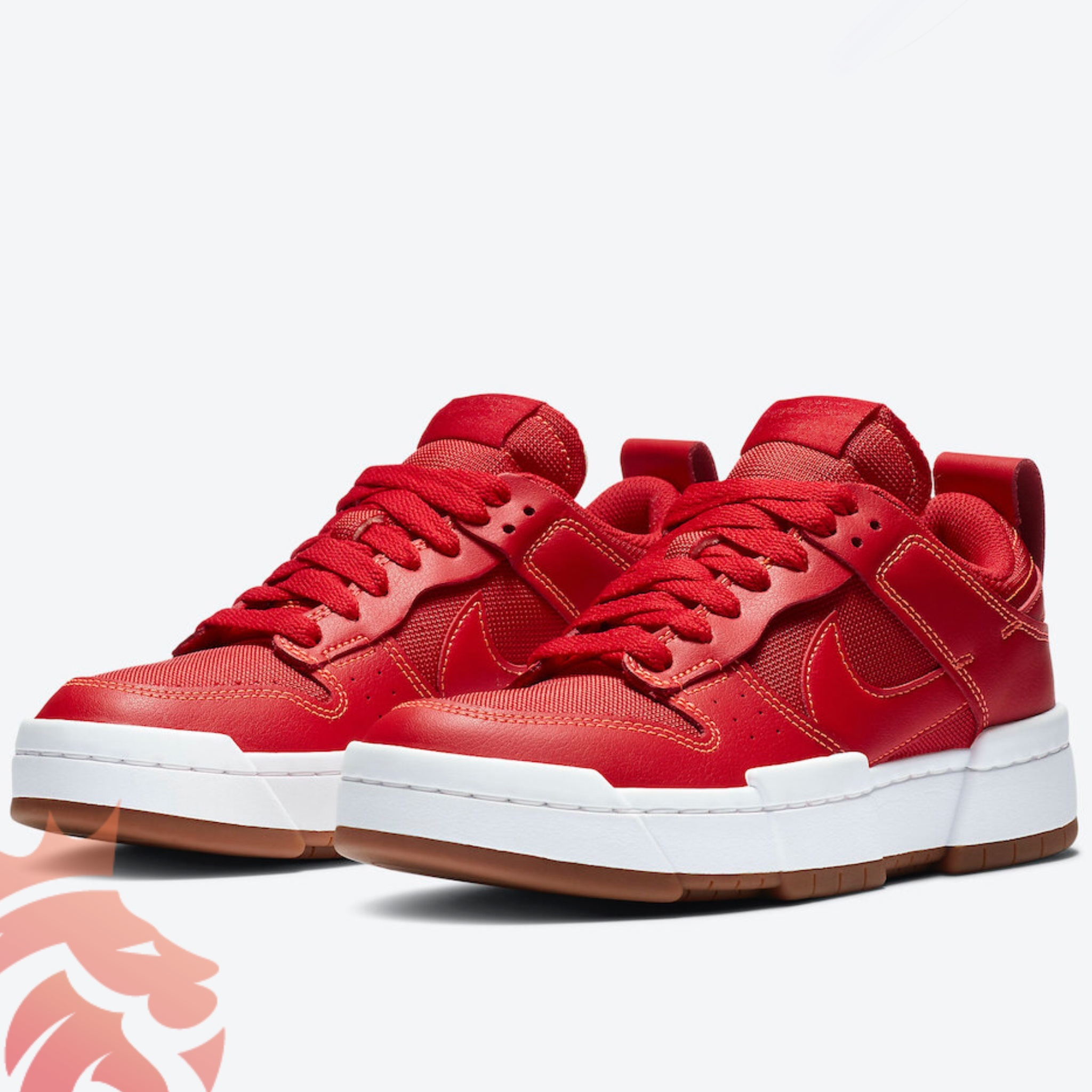 WMNS Nike Dunk Low Disrupt CK6654-600 Red/Red/White/Gum