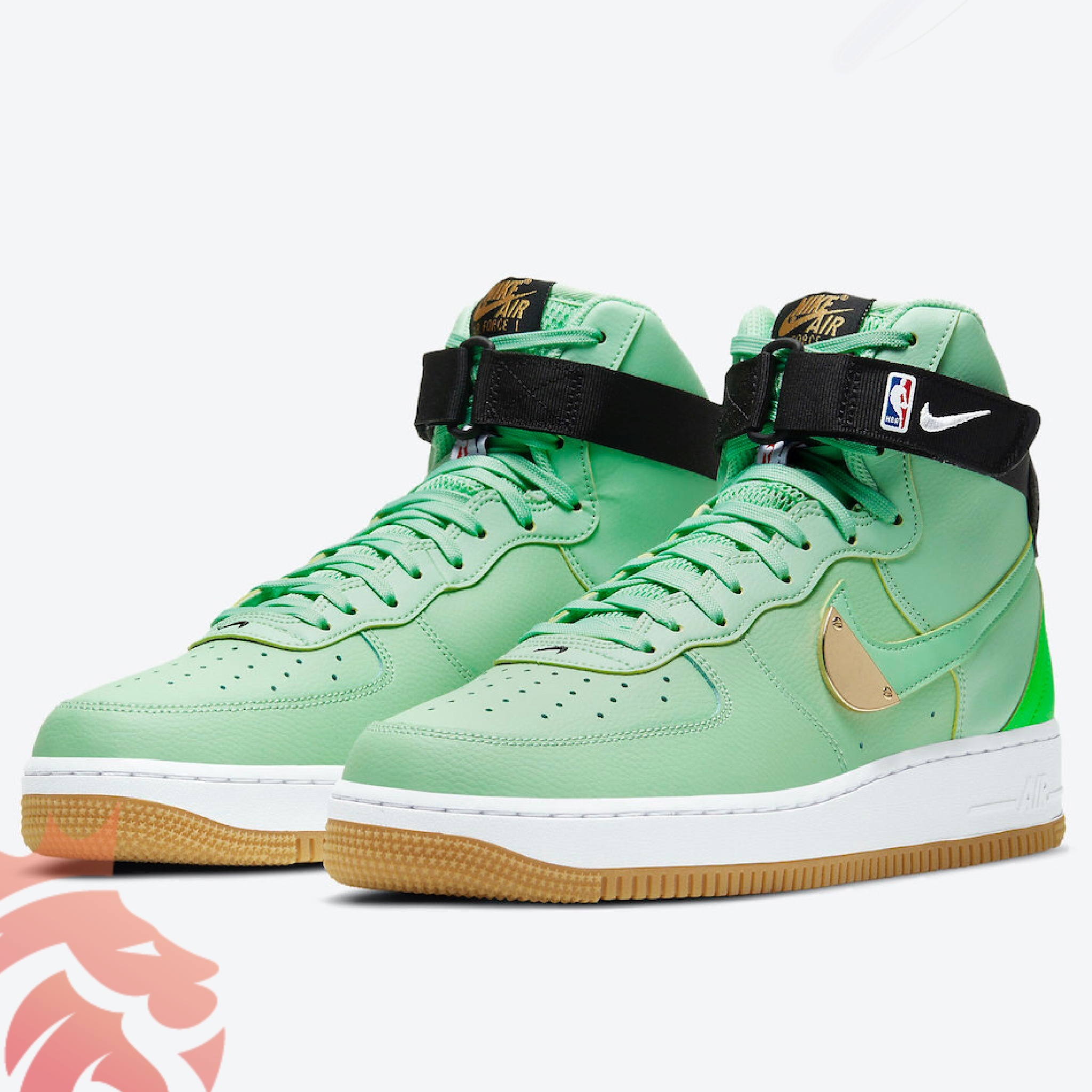 "Nike Air Force 1 High ""NBA Pack"" CT2306-100 Bright Green/Varsity Maize/ Green"