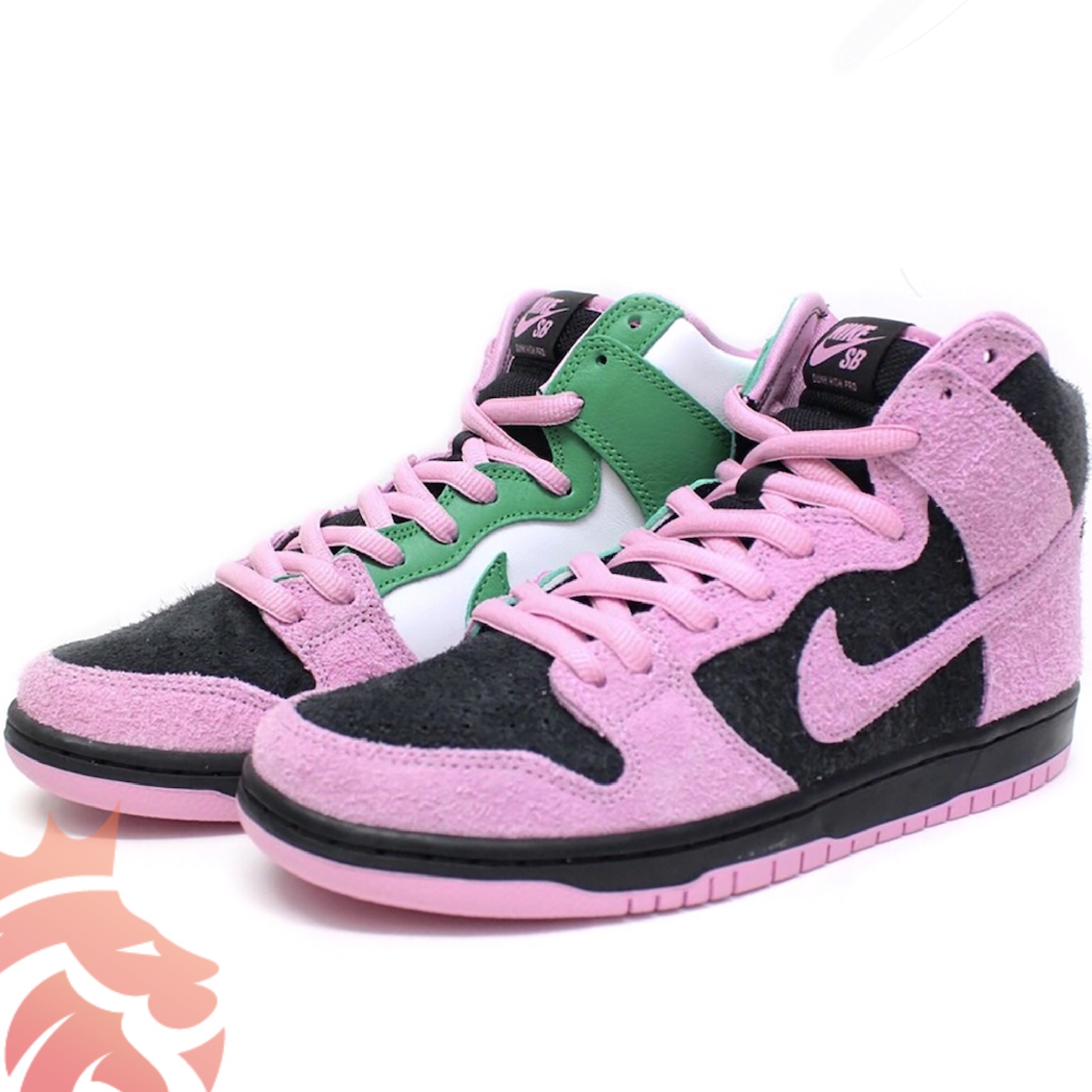 "Nike SB Dunk High ""Invert Celtics"" Black/Pink Rise-Lucky Green"