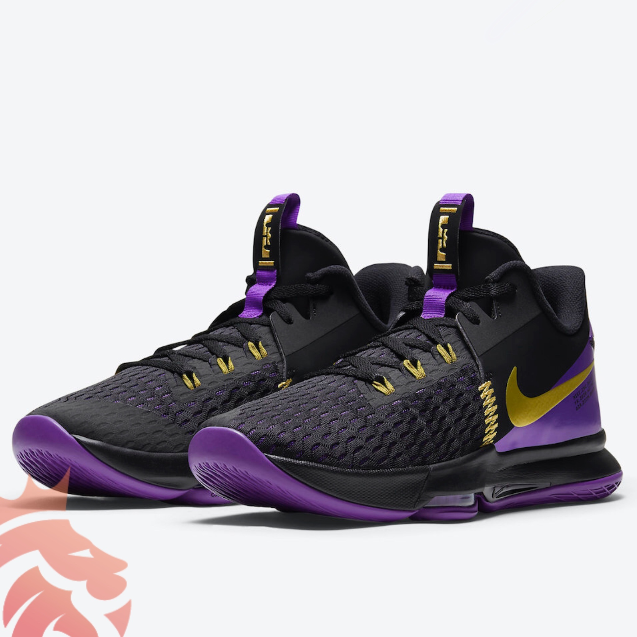 "Nike LeBron Witness 5 ""Lakers"" CQ9381-001 Black/Metallic Gold-Fierce Purple"