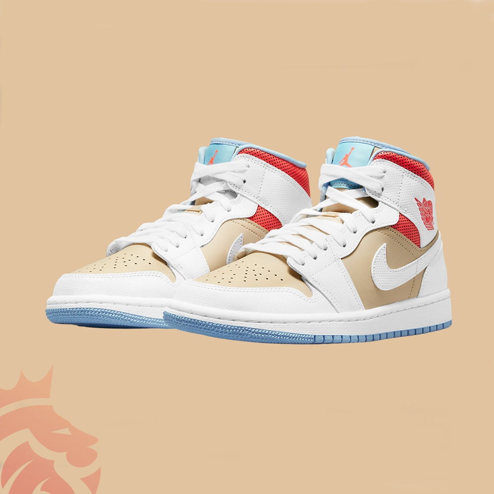 Air Jordan 1 Mid CZ0774-200 Sesame/White/Flash Crimson/Psychic Blue