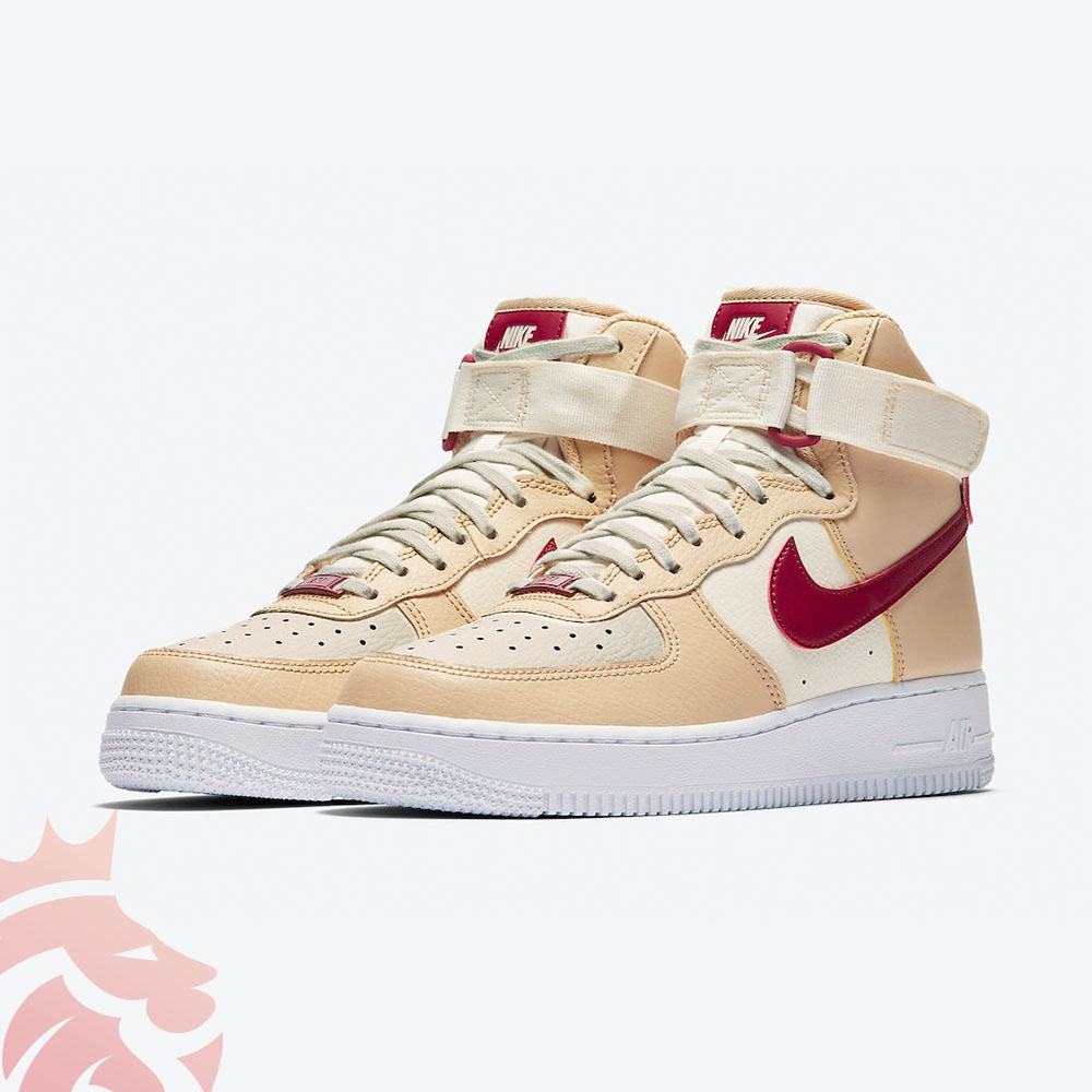 Nike Air Force 1 High 334031-200 White Onyx/Noble Red/Pale Ivory/White