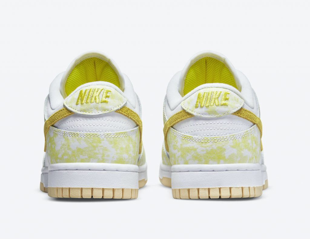 Light Yellow Bleached Splotches Top The Latest Ladies Dunk Low
